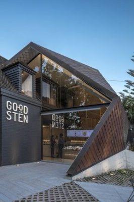 Quán cafe khung thép tiền chế kết hợp giả gỗ