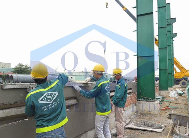 Quy trình thi công nhà xưởng thép tiền chế tại QSB SEEL